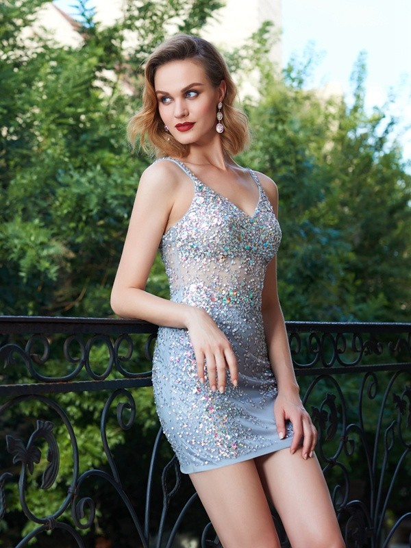 Argento Tubino Spalline sottili Short Abiti Homecoming with Lustrini