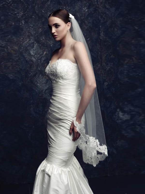 Elegant Tyll With Pizzo Bridal Veils