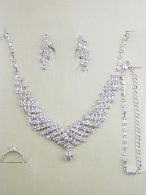 Gorgeous Alloy With Strass Wedding Bridal Scollatura gioiellory Set