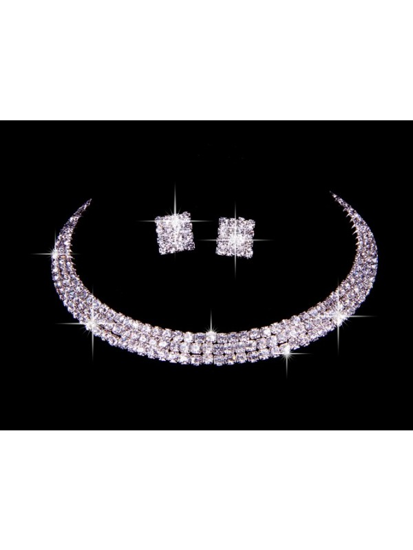 Great Czech Strass Wedding Necklaces Earrings Set