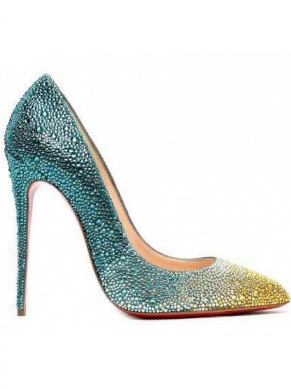 Sheepskin Closed Toe Stiletto Heel With Strass High Heels