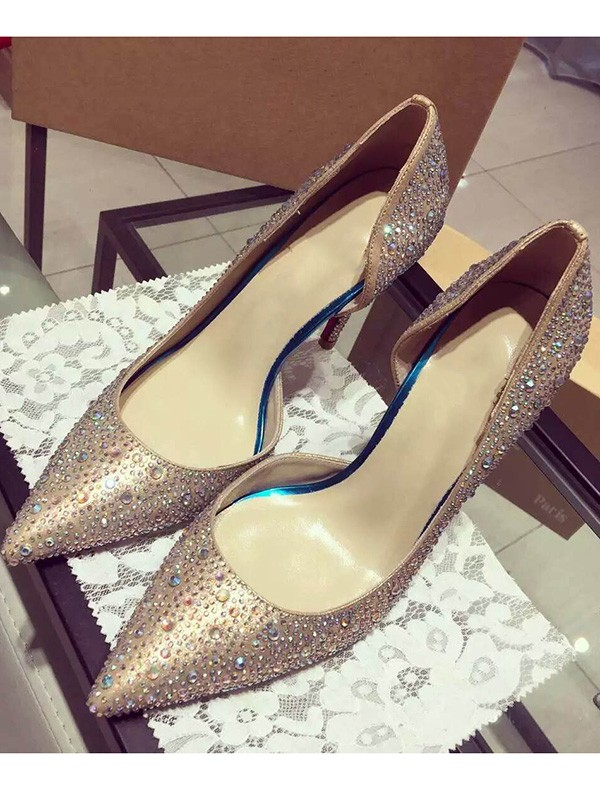Raso Closed Toe Cone Heel With Strass High Heels