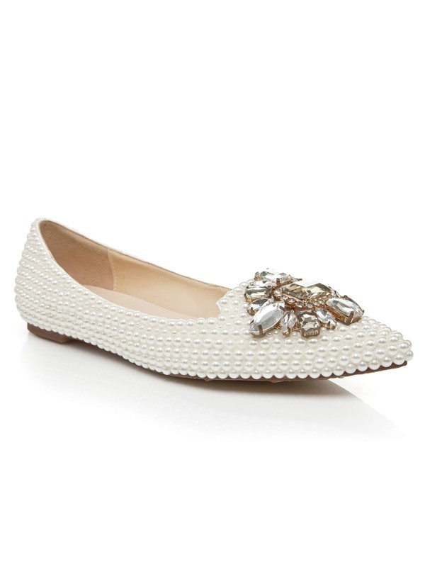 Patent Leather Flat Heel Closed Toe With Pearl Strass Casual Flat Shoes