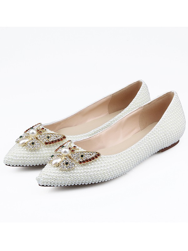 Patent Leather Closed Toe Strasss Flat Shoes