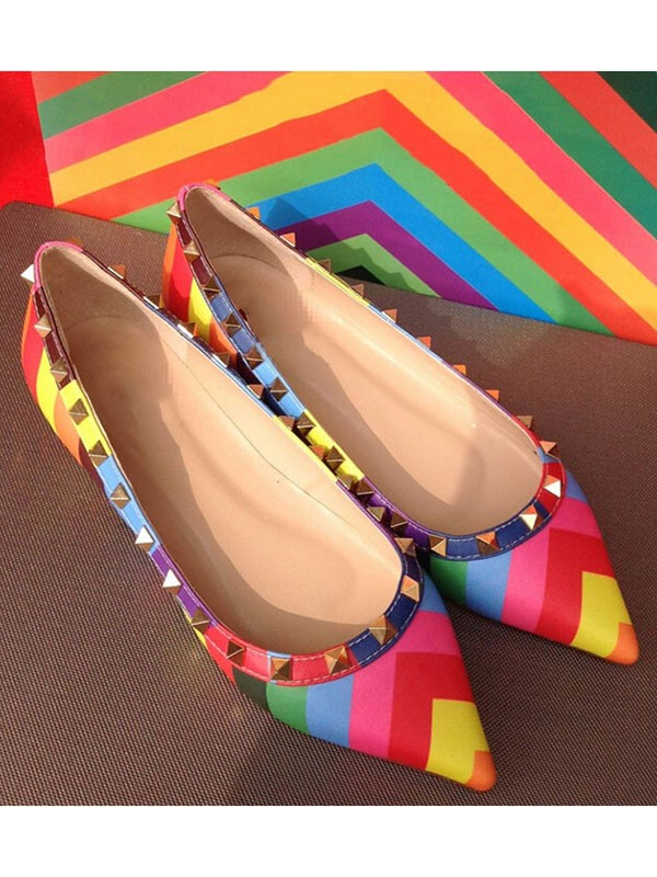 Colorful Flat Heel Sheepskin Closed Toe With Rivet Flat Shoes