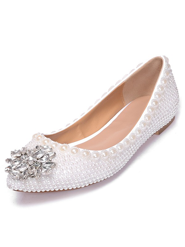 Patent Leather Closed Toe Flat Heel With Pearl Strass Casual Flat Shoes
