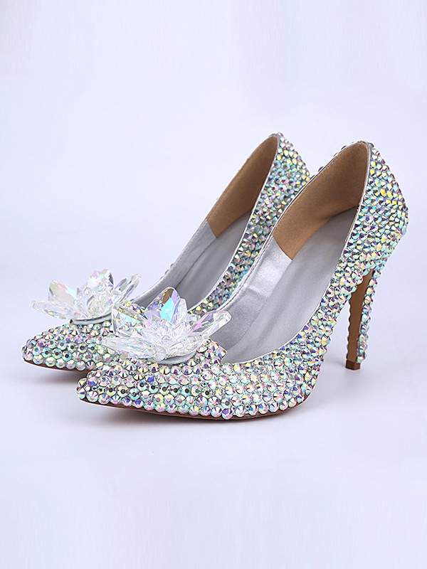 Patent Leather Cone Heel Closed Toe With Cristallo Flower High Heels