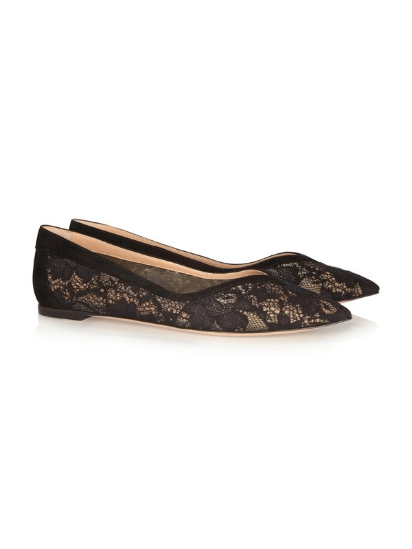 Flat Heel Pizzo Closed Toe With Mesh Flat Shoes