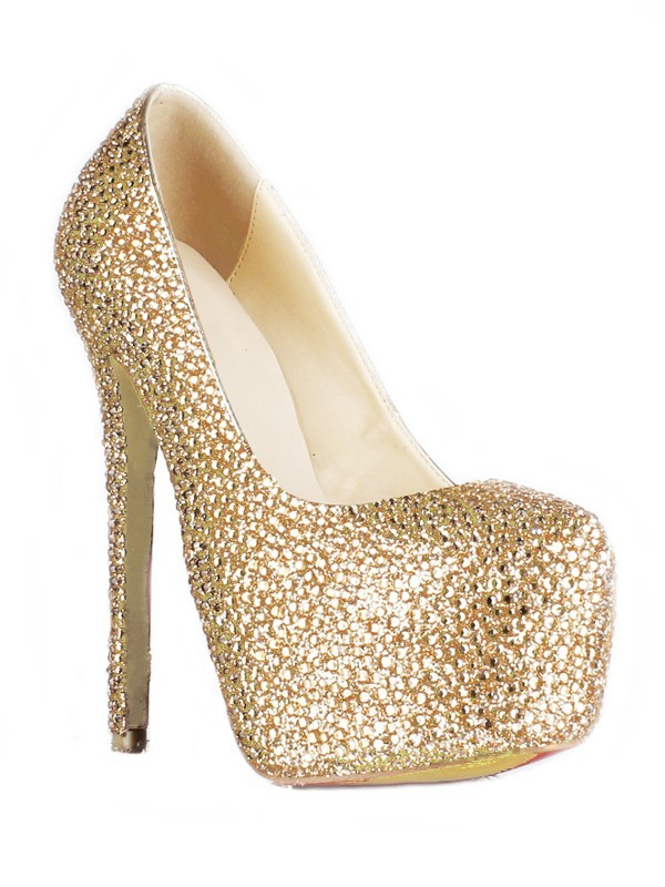 Sheepskin Stiletto Heel Closed Toe Platform With Strass High Heels