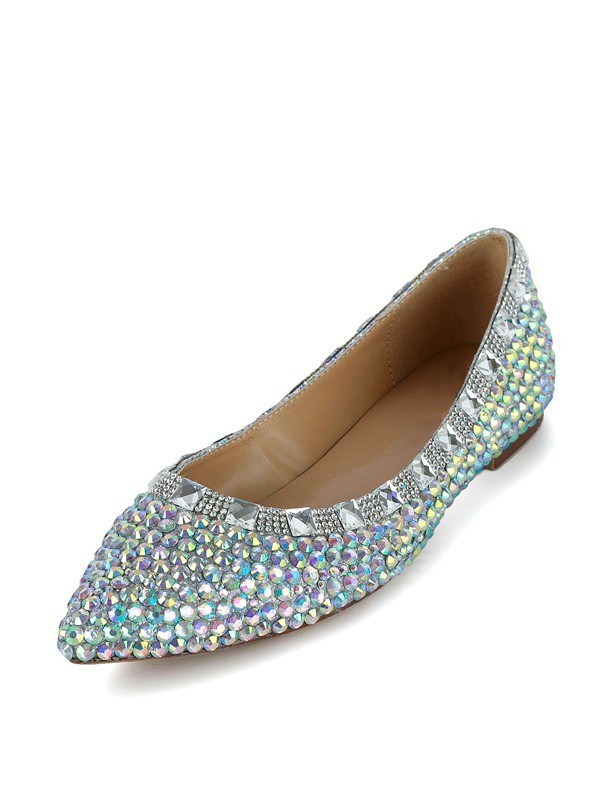 Flat Heel Patent Leather Closed Toe With Strass Flat Shoes