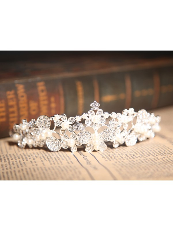 Stunning Alloy Clear Crystals Pearls Wedding Headpieces