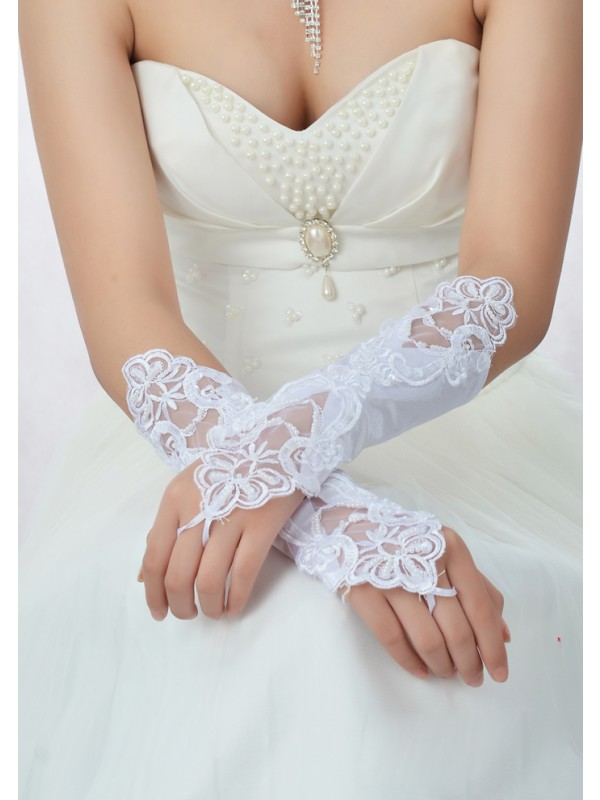 Stunning Perline Pizzo Raso Bridal Gloves
