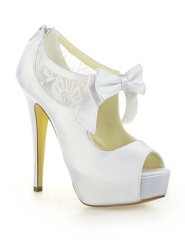 Raso Pizzo Platform Peep Toe With Fiocco Stiletto Heel Bianco Wedding Shoes