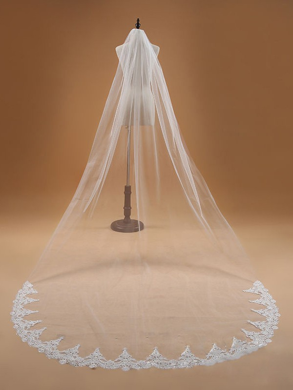 Elegant Tyll With Pizzo Wedding Veils
