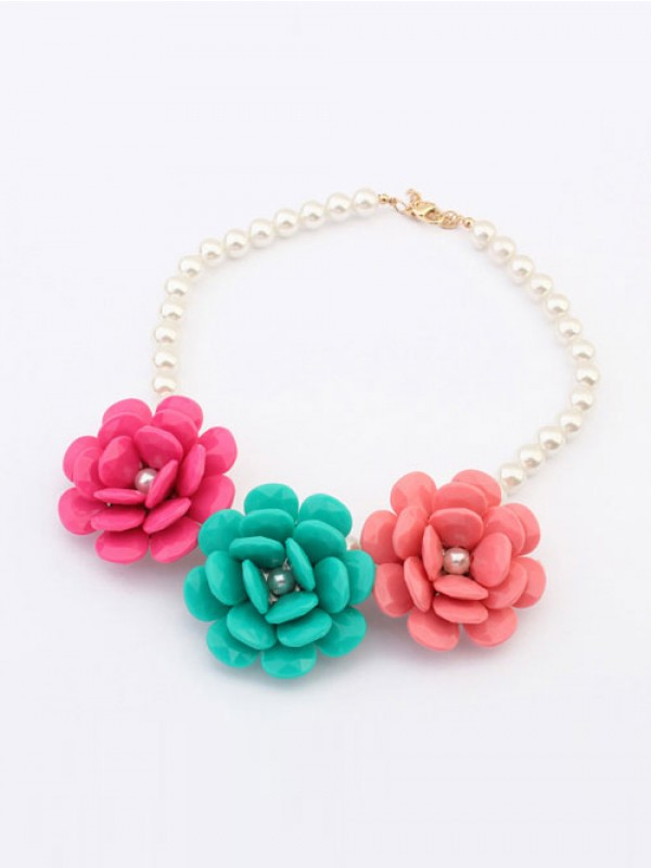 Occident Candy colors Imitation Big Flowers Hot Sale Necklace
