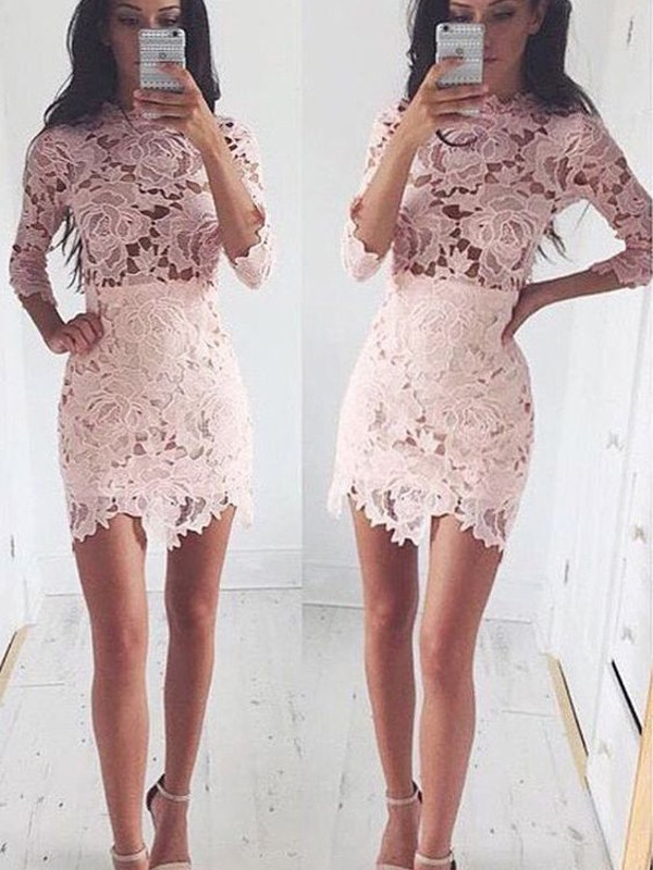 Pizzo A-Line Short Half Sleeves Tondo Rosa Abiti Homecoming