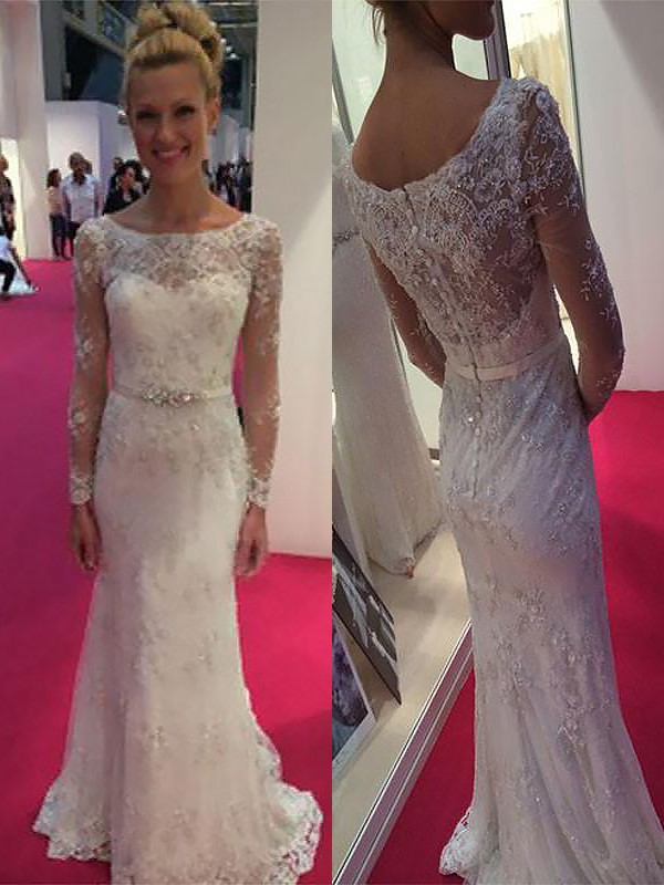 Tubino Chiffona Maniche lunghe Tondo Brush Train Abiti da Sposa with Pizzo