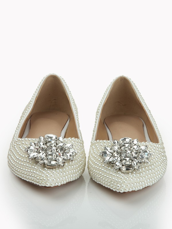 Patent Leather Closed Toe Flat Heel With Pearl Strass Flat Shoes