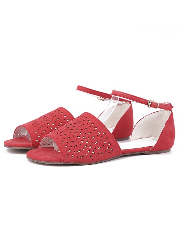 Flock Flat Heel Peep Toe With Hot Drilling Rosso Sandals Shoes