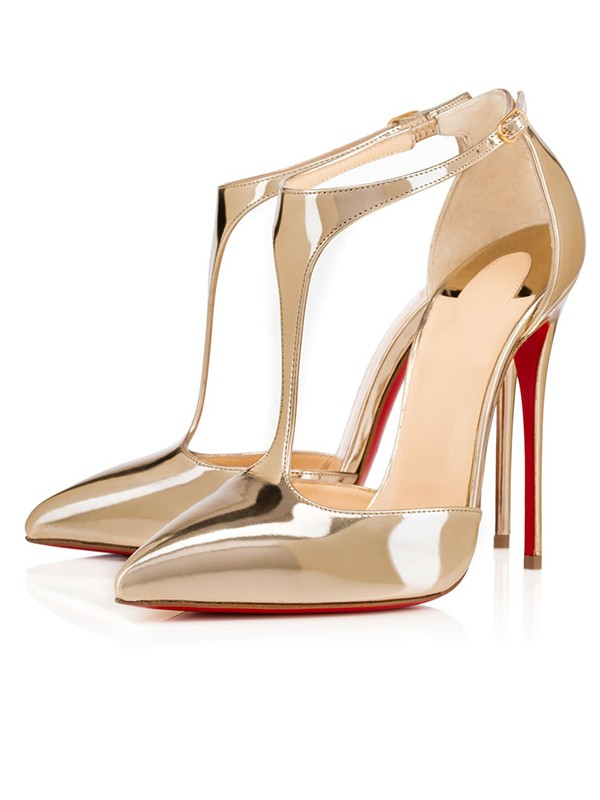 Patent Leather Closed Toe Stiletto Heel Oro Sandals Shoes