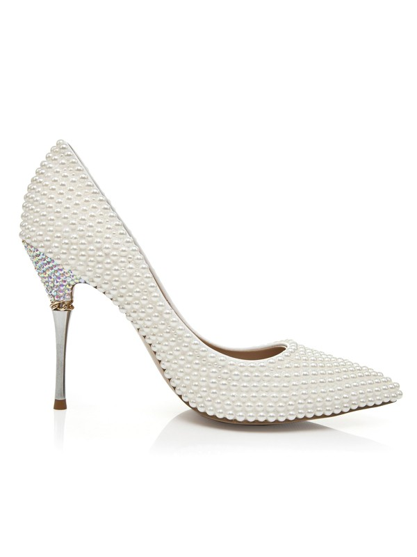 Patent Leather Stiletto Heel Closed Toe With Pearl High Heels