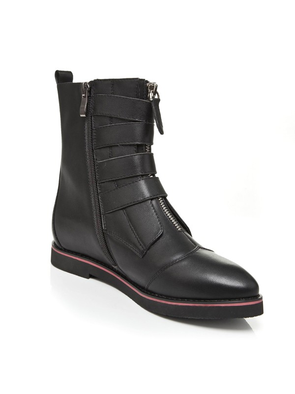 Flat Heel Closed Toe Cattlehide Leather With Con Cerniera Mid-Calf Nero Boots