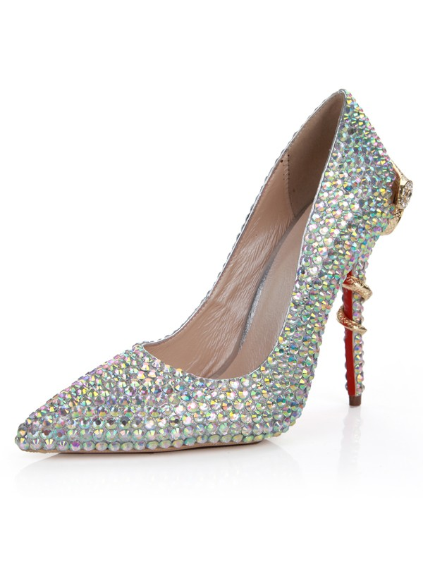 Sheepskin Stiletto Heel Closed Toe With Strass High Heels