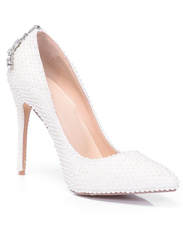 Closed Toe Patent Leather Stiletto Heel With Pearl Strass High Heels