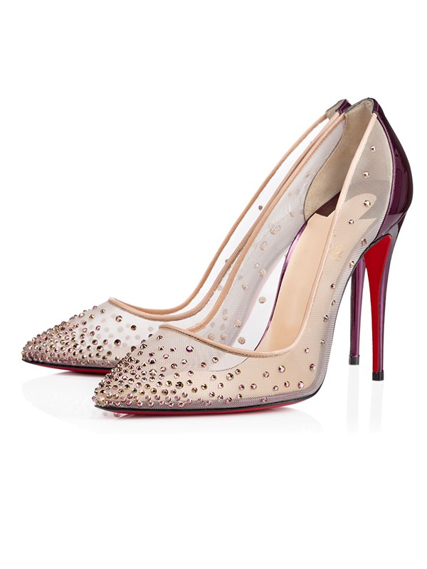 Patent Leather Closed Toe Stiletto Heel With Cristallo High Heels