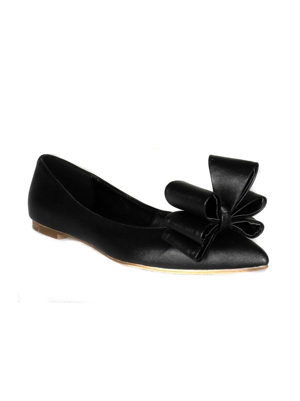 Sheepskin Flat Heel Closed Toe With Fiocco Flat Shoes