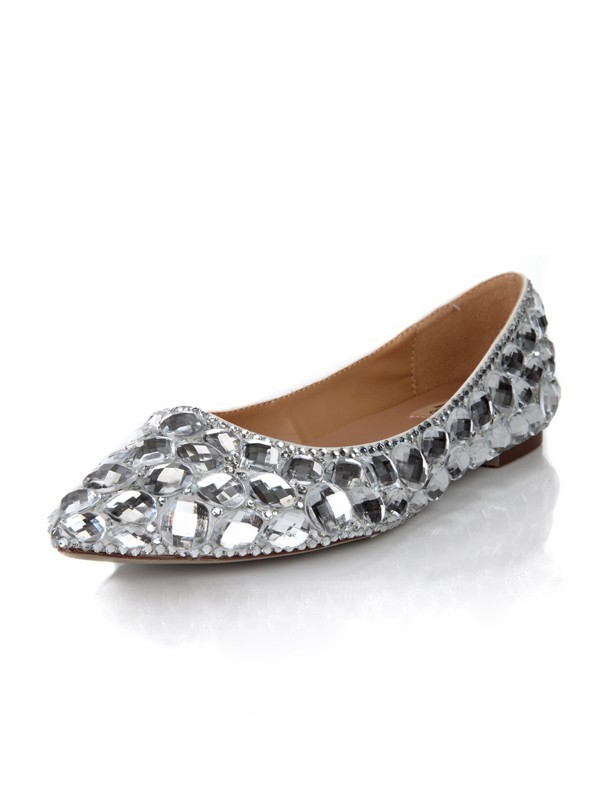 Flat Heel Closed Toe Sheepskin With Strass Flat Shoes