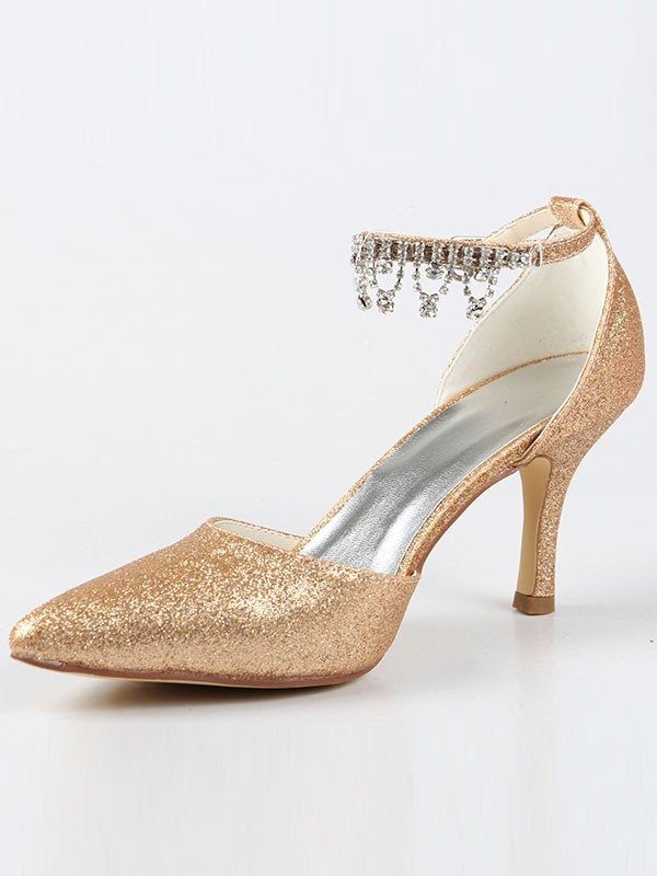 Mary Jane Closed Toe Cone Heel With Strass High Heels