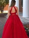 A-Line/Princess Sleeveless Halter Beading Tulle Floor-Length Two Piece Dresses
